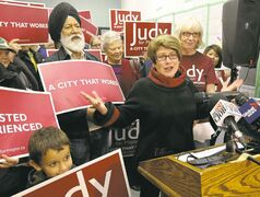 Judy Wasylycia-Leis speaks at her campaign headquarters Saturday.