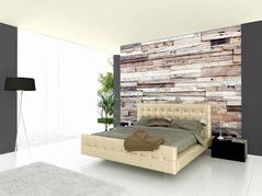 Modern double bed standing against wooden wall; Shutterstock ID 152061140; PO: on file; Job: Sico Only; Client: Charlie Banachowski