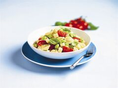 Pasta and Edamame Salad makes a satisfying dinner salad that does double duty as tomorrow's lunch. Tote it to work for a midday meal that will keep you motoring through the afternoon. THE CANADIAN PRESS/HO- Dairy Farmers of Canada