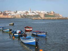 Kasbah des Oudayas in Rabat, Morocco, high on a cliff over the Atlantic Ocean. Many historic sites in Morocco's capital line the Bou Regreg river, plied by fishermen.