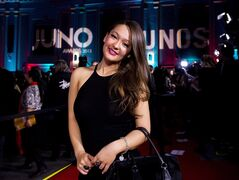 County artist Kira Isabella poses on the red carpet during the 2015 Juno award nominations press conference in Toronto on Tuesday, January 27, 2015. THE CANADIAN PRESS/Nathan Denette