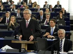President of the European Commission Jean-Claude Juncker delivers his statement on growth, jobs and investment package for Europe, Wednesday Nov 26, 2014 at the European Parliament in Strasbourg, eastern France. (AP Photo/Christian Lutz)