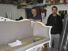 (Left) Roy Peckham and son Andrew can reupholster furniture and seats in cars, trucks and boats.