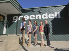 From left to right: Demi Badmus, Madison Reynolds, Sydney Reynolds, Speranza Albensi and Joyce Ormshaw. The longtime coach was working with the twirlers at Greendell Park Community Centre on April 11.