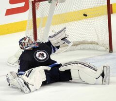 Winnipeg Jet netminder Michael Hutchinson couldn't save the shootout goal that awarded victory to the St. Louis Blues Thursday night. The Blues won 2-1.