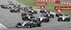Mercedes driver Nico Rosberg of Germany leads the field after the start of the German Formula One Grand Prix in Hockenheim, Germany, Sunday, July 20, 2014. (AP Photo/Michael Probst)