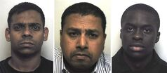 Undated National Crime Agency handout photos, provided Friday, June 20, 2014, of left to right, Chann Sankaran, Krishna Ganeshan and Michael Boateng. A player and two businessmen were sentenced to jail on Friday for attempting to fix lower league football matches in England. Businessmen Chann Sankaran, 33, and Krishna Ganeshan, 44, were jailed for five years for conspiracy to commit bribery. Michael Boateng, a former player for sixth-tier Whitehawk FC, received a 16-month sentence. (AP Photo/NCA/PA) NOTE TO EDITORS: This handout photo may only be used in for editorial reporting purposes for the contemporaneous illustration of events, things or the people in the image or facts mentioned in the caption. Reuse of the picture may require further permission from the copyright holder.