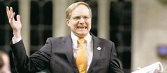 NDP finance critic Peter Julian uses tweets, Facebook comments and emails to help pad his marathon 13-hour budget speech.