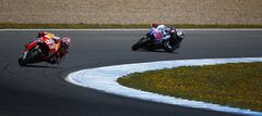 Marc Marquez from Spain and Honda Repsol, left, and Jorge Lorenzo from Spain any Yamaha, right, races during the qualifying for the Spain MotoGP at the Jerez race track on Saturday, May 3, 2014 in Jerez de la Frontera, southern Spain. (AP Photo/Miguel Angel Morenatti )