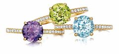 Coloured gemstones like amethyst, peridot and topaz have always been popular, especially paired with diamonds.