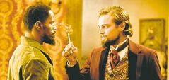 Jamie Foxx and Leonardo DiCaprio star in Django Unchained.