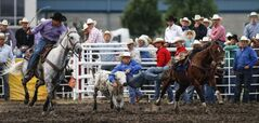 The steer wrestling competition got underway Friday night.