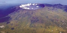 In this Oct. 19, 2010 aerial photo, Mount Tambora�s volcanic crater, created by the April 1815 eruption, is shown.