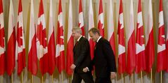 Canadian Prime Minister Stephen Harper meets with Polish Prime Minister Donald Tusk at the Chancellery of the Polish Prime Minister in Warsaw, Poland Wednesday June 4, 2014 THE CANADIAN PRESS/Adrian Wyld