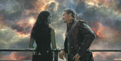 From left: Gamora (Zoe Saldana) and Star-Lord/Peter Quill (Chris Pratt)