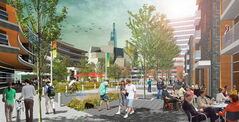 An artist's rendering of proposed mixed-use development of remaining land at The Forks.