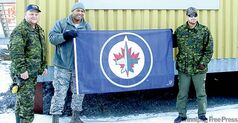 The Jets flag is displayed at Canadian Forces Station Alert, Alert Bay, Nunavut.