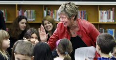 Nancy Allan meets students Wednesday.
