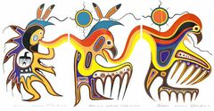 Jackson Beardy�s Metamorphosis shows a thunder dancer, a human transforming to spirit animal and a thunderbird.