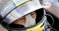 Marco Andretti waits for the start of a practice session for the IndyCar Grand Prix of Houston auto race Friday, June 27, 2014, in Houston. (AP Photo/David J. Phillip)