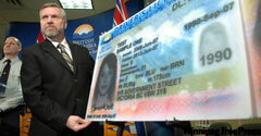 VANCOUVER, B.C..: FEBRUARY 5, 2009 -- Solicitor General John van Dongen unveiled a newly redesigned, high-tech driver's licences and identification cards that will help curb identity theft, fraud and driving while prohibited. Vancouver, B. C. on February 5, 2009.