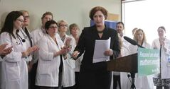 Health minister Theresa Oswald, and a group of Cancer Care Manitoba health professionals announce the province will be adding 50 new health professionals and launching four regional CancerCare hubs in rural Manitoba.