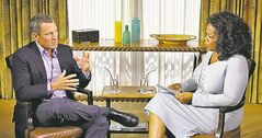 Disgraced cyclist Lance Armstrong during interview with Oprah Winfrey.
