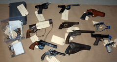 Handguns seized by Winnipeg police Tuesday.