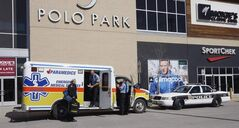 An ambulance and police were at the mall after man was attacked on Tuesday.