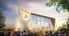 File - In this file artists rendering released May 13, 2013, by the Minnesota Sports Facilities Authority and the Minnesota Vikings is the new Minnesota Vikings stadium. A recent New Jersey court ruling that the Vikings owners had committed fraud and breach of contract in that state prompted Gov. Mark Dayton to seek a close examination of the team�s ability to pay its share of the stadium. But millions have already been spent or committed in contracts for the stadium, which would complicate any attempts to derail it. (AP Photo/HKS Sports and Entertainment Group, File)