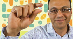 Dr. Salah Mahmud holds three pills that may contain properties that could be helpful in preventing certain types of cancer.