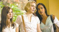 Damsels Carrie MacLemore (from left), Greta Gerwig and Megalyn Echikunwoke.