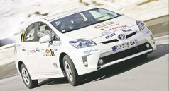 The plug-in Toyota Prius hybrid rally car can reach 100 km/h fully on electric power.