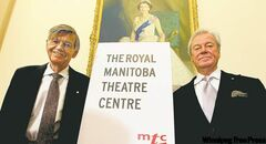 Tom Hendry (left) and actor Gordon Pinsent celebrate royal status for the theatre company.