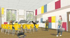 An artist's rendering of a performing-arts classroom at the University of Winnipeg Collegiate.