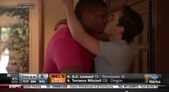 A spontaneous, emotional moment takes on greater significance when pro football's first openly gay draft pick, Michael Sam, embraces his boyfriend.