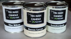 New line of Soy Harvest candles marketed to men.