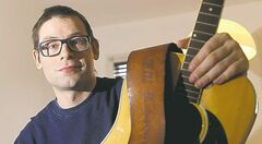 Matt Weinstein with guitar that belonged to Bill Edmondson who played with Neil Young in The Squires.