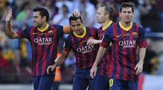 FC Barcelona's Alexis Sanchez, second left, celebrates after scoring against Getafe with his teammates Xavi Hernandez, left, Andres Iniesta, second right, and Lionel Messi from Argentina, during a Spanish La Liga soccer match at the Camp Nou stadium in Barcelona, Spain, Saturday May 3, 2014. (AP Photo/Manu Fernandez)