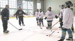 Young players get training at an NHL top prospects clinic in Ohio.