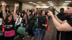 Arianna Castellano, 10, cheers for the camera prior to auditions for The Next Star, a YTV reality talent show for kids age 15 and under. Hundreds of kids lined up for hours at the Winnipeg Convention Centre on Saturday to audition.