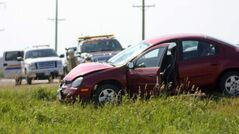 One of three cars vehicles involved in the collision on Veterans' Way near Brandon on Tuesday afternoon.