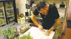 Chef Scott Bagshaw on the set of 7 Minute Suppers.