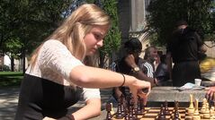 Yelizaveta Orlova, who has represented Canada in international chess events, is shown in a screengrab from a recent video. There is something about the high school years that makes female chess enthusiasts stop playing, the game's governing body says. THE CANADIAN PRESS/Ethan Yu