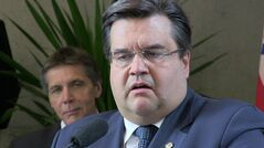 Montreal Mayor Denis Coderre answers reporters' questions about a plan to demolish Mirabel airport during a news conference Friday, May 2, 2014 at city hall. The airport, which has been described as a white elephant, first opened with great fanfare in 1975 , but was shutdown in 2004. THE CANADIAN PRESS/Peter Ray