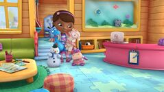 In this image released by Disney Junior, the character Doc McStuffins is shown with her stuffed animal friends, from left, Chilly, Stuff, Lambie and Hallie in a scene from Disney Junior's animated series