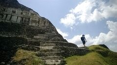 "This April 26, 2014, photo shows a modern copy of an ancient frieze on the structure known as ""El Castillo"" at the archeological site of Xunantunich. Despite its lofty appearance and elaborate decorations, the Castillo likely served as an administrative hub, not a temple, according to the visitor's center. (AP Photo/Alina Hartounian)"