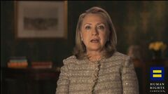 This video framegrab, provided by the Human Rights Campaign shows former Secretary of State Hillary Rodham Clinton announcing her support for gay marriage, putting her in line with other potential Democratic presidential candidates on a social issue that is rapidly gaining public approval. Clinton made the announcement in an online video released Monday morning by the gay rights advocacy group Human Rights Campaign. She says in the six-minute video that gays and lesbians are