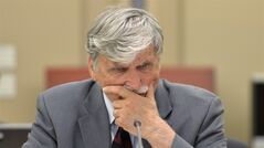 Liberal Sen. Romeo Dallaire, best known in Canada as the former commander of the UN's ill-fated peacekeeping mission in Rwanda, is seen at Senate caucus in Ottawa on Wednesday, May 28, 2014. Sources say Dallaire is retiring from the upper chamber next month. THE CANADIAN PRESS/Adrian Wyld