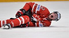Canada's Eric Staal reacts after a clash on the ice during the Ice Hockey World Championships quarterfinal match against Sweden in Stockholm, Sweden, Thursday May 16, 2013. (AP Photo/Anders Wiklund) SWEDEN OUT